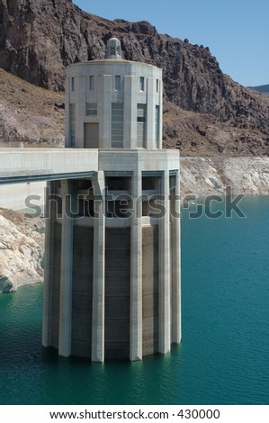 Water Intake Tower at Hoover Dam - stock photo