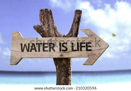 Water is Life wooden sign with a beach on background  - stock photo
