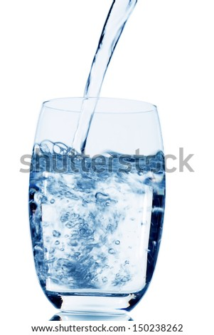 water is poured into a glass, symbolic photo for drinking water, freshness, demand and consumption - stock photo