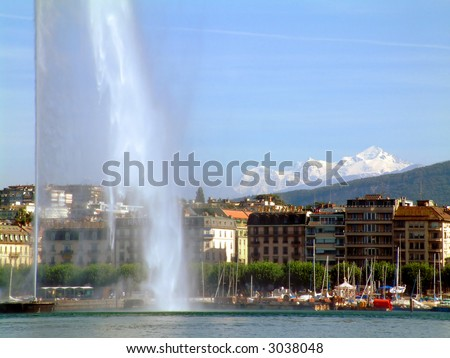 Water Jet in Geneva Switzerland, Jet d'eau - stock photo
