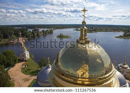 Water landscape with church dome