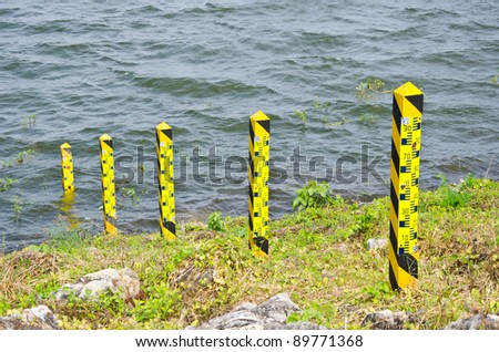 water level in dam - stock photo