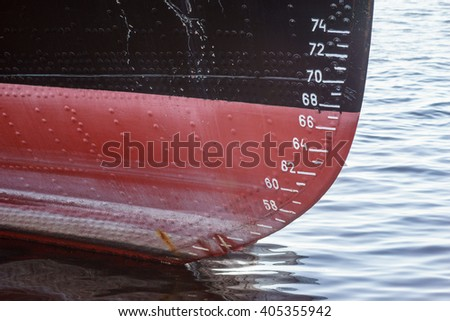 Water level measurement on a old ferry boat - stock photo