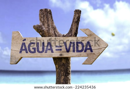 Water = Life (In Portuguese) wooden sign with a beach on background - stock photo