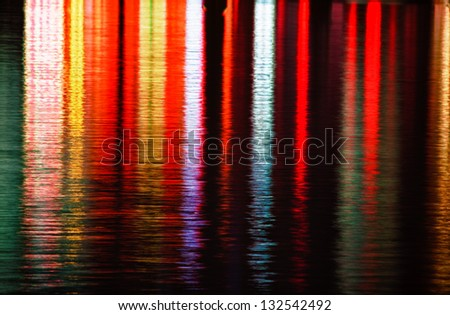 Water lights reflection - stock photo