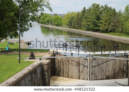Water lock, Ottawa rideau canal by a sunny day