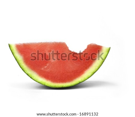 Water melon slice with bite-mark - stock photo