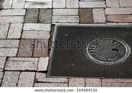 water meter and brick walk - stock photo