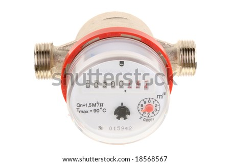 Water meter  isolated on white background - stock photo