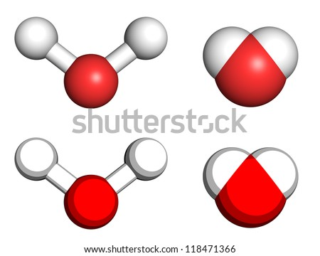 Water molecules, ball-and-stick and space filling molecular models. - stock photo