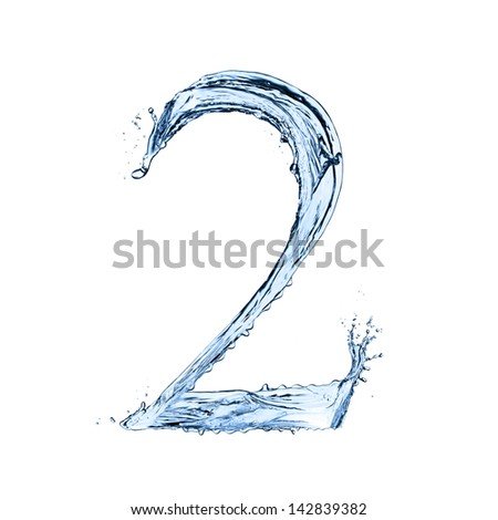 "Water number ""2"" isolated on white background - stock photo"