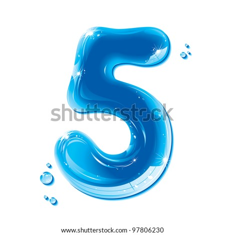 Water Numbers - Number Five Liquid Number Gel Series on white background - raster version - stock photo