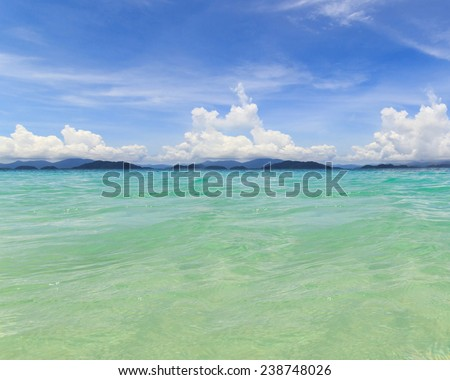 Water ocean and blue sky background. Clear blue ripple aqua texture - stock photo