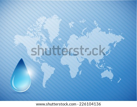 water on earth concept illustration design over a world map background - stock photo