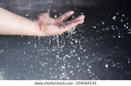 Water on hand  - stock photo