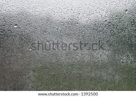 Water on window after rain - stock photo