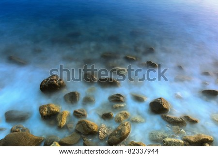 Water Over Rocks - stock photo