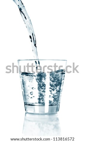 Water Overflow on white - stock photo
