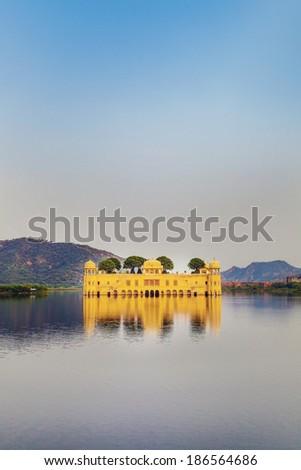 Water Palace (Jal Mahal) in Man Sagar Lake. Jaipur, Rajasthan, India. 18th Century. The palace Dzhal-Mahal - stock photo