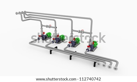 Water pipe technology construction isolated rendered - stock photo