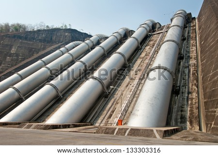 Water pipeline to Hydro-Electric power station - stock photo
