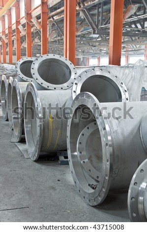 Water pipes flanges on a building site - stock photo