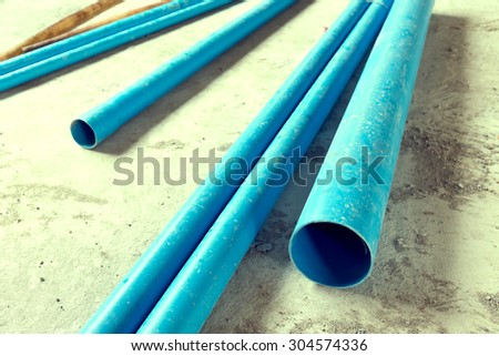 water pipes pvc plumbing in construction site building, image used filter vintage - stock photo