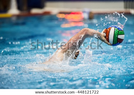 water polo player - stock photo