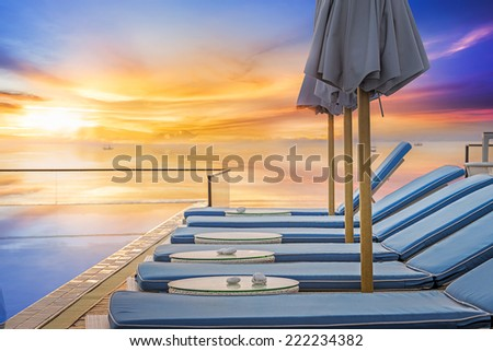 Water pool  vacation with sunrise background - stock photo