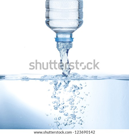 Water pour from water bottle - stock photo