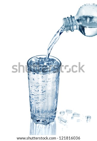 water poured into glass - stock photo