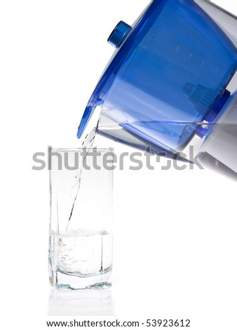 Water pouring from a jug into a glass