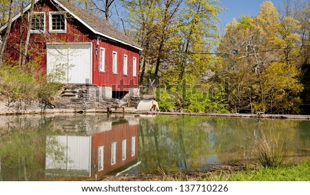 Water powered wheat mill in Southern Ontario - stock photo