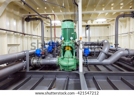 Water pump installed on drill ship - Industrial zone. - stock photo