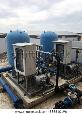 Water pump machine on the roof building