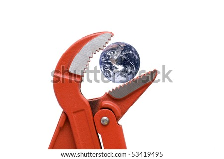 water pump pliers with planet earth, NASA PD image used - stock photo