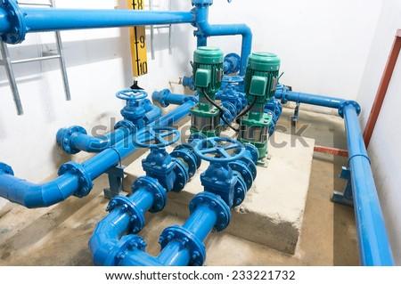 water pump room - stock photo
