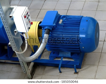 Water pumping station, industrial interior and pipes. Water system valves, pump motor - stock photo