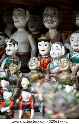 Water puppet dolls, in Hanoi, Vietnam - stock photo