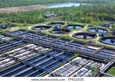 Water recycling on sewage treatment station - stock photo