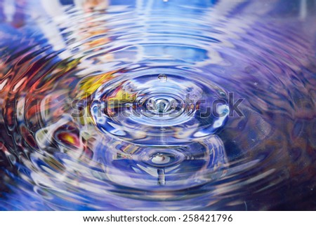 water reflection and water drop on violet background  - stock photo