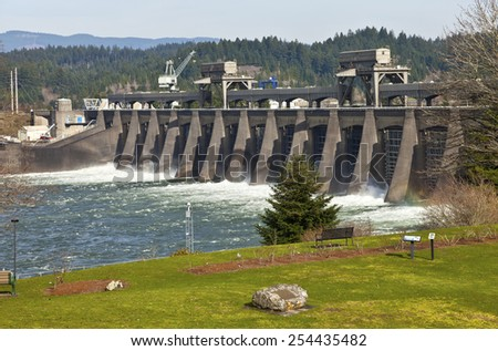 Water release through the gates in Bonneville Dam Oregon. - stock photo