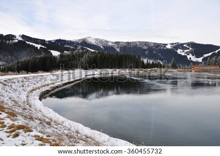 Water Reservoir Lake at Schmittenhöhe, Zell Am See, Salzburger Land, Salzburg, Austria - stock photo