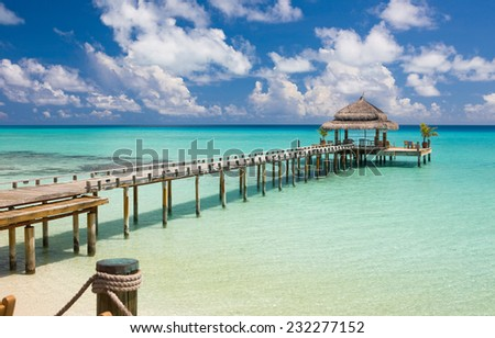 Water restaurant - ocean and sky view, Maldives, Indian ocean - stock photo