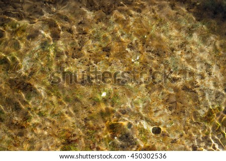 Water ripples over algae-covered granitic rock - stock photo