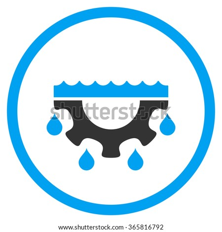 Water Service glyph icon. Style is bicolor flat circled symbol, blue and gray colors, rounded angles, white background. - stock photo