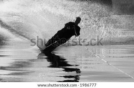 Water ski silhouette - stock photo
