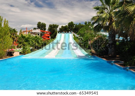Water slide in amusement park, Marineland, French Riviera - stock photo