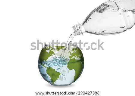 Water spilled from bottle made the wave in globe bowl. Environmental protection concept, global warming. - stock photo