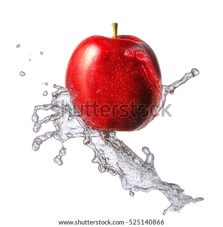 Water splash and fruits isolated on white backgroud with clipping path. Fresh apple